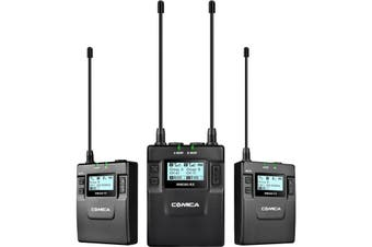 WM300A COMICA UHF Wireless Microphone With Dual Transmitter  96 Selectable Channels  UHF WIRELESS MICROPHONE