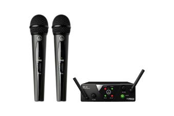 WMS40MINIDUALHT AKG Dual Mic Receiver W/ Two Mics 2X H-Held 660.7 & 662.3Mhz  Unique Hdap (High Definition Audio Performance) Technology Ensures the Best Possible, Most Realistic Sound at Any Time
