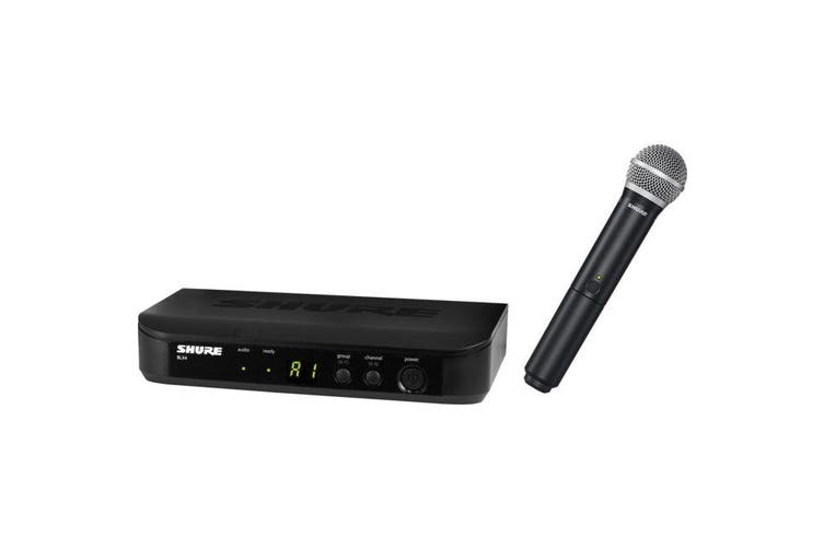 BLX24PG58 SHURE Wireless Handheld Mic System 614-638Mhz  Auto Set-Up Shure  Kit Inclued 1 X Blx4 Receiver & 1 X Blx2/Pg58 Transmitter  WIRELESS HANDHELD MIC SYSTEM