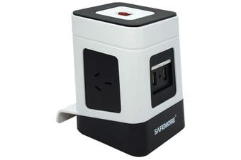 PS1LWB SAFEMORE One Level Power Stacker 3 Gpo 2 USB White/Black Surge  3 Standard Power Outlets and 2 USB Ports  ONE LEVEL POWER STACKER