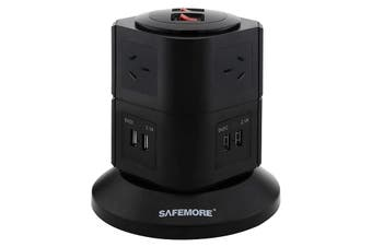 PS2LBK SAFEMORE Two Level Power Stacker 6 Gpo 4 USB Black Surge  8 Power Outlets and 4 USB Ports  TWO LEVEL POWER STACKER