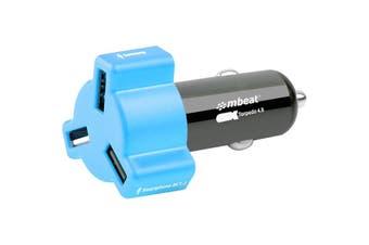 348BLU MBEAT 3 Port 4.8Amp USB Cig Charger Blue  3-Port USB Car Charger In Colourful Design  3 PORT 4.8AMP USB CIG CHARGER