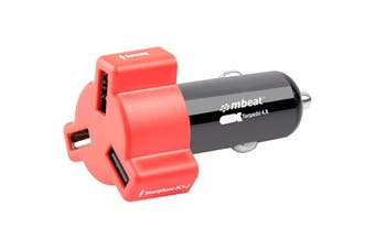 348RED MBEAT 3 Port 4.8Amp USB Cig Charger Red  3-Port USB Car Charger In Colourful Design  3 PORT 4.8AMP USB CIG CHARGER