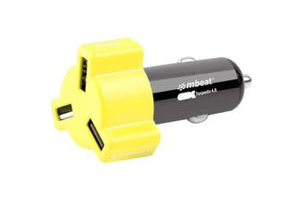 348YEL MBEAT 3 Port 4.8Amp USB Cig Charger Yellow  3-Port USB Car Charger In Colourful Design  3 PORT 4.8AMP USB CIG CHARGER