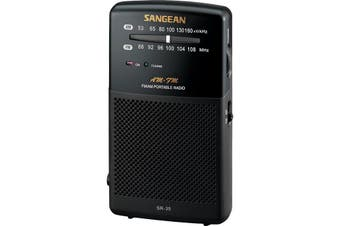 SR35 SANGEAN AM/FM Pocket Radio Black  Power LED Indicator  AM/FM POCKET RADIO