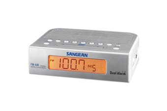RCR5SW SANGEAN Basic AM / FM Bedside Clock Radio Sangean - Silver & White  AM/FM Digital Tuner  BASIC AM / FM BEDSIDE CLOCK