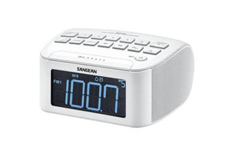 RCR24WH SANGEAN White AM/FM Clock Radio With Large LCD Digital Display  AM / FM-Stereo Digital Tuning  WHITE AM/FM CLOCK RADIO