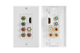 PRO1258A Pro2 HDMI Component Stereo Digital Audio Wall Plate Straight HDMI  Gold-Plated RCA Connections  HDMI COMPONENT STEREO DIGITAL