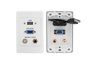 PRO1279 Pro2 VGA + USB + Stereo Wall Plate Vertical Layout  VGA Socket To Socket  VGA + USB + STEREO WALL PLATE