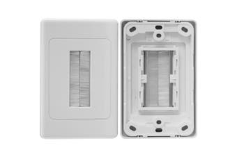 PRO1272 Pro2 White Brush Wall Plate Suits Clipsal E  Material: High Quality Abs  WHITE BRUSH WALL PLATE