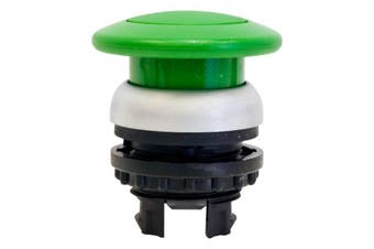 SP6505 MOELLER Mushroom Push Button Green Spring Return Emergency Switch  Front Ring Titanium, Also Available In Black  MUSHROOM PUSH BUTTON GREEN