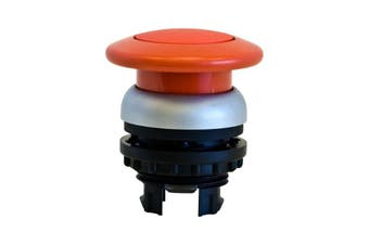 SP6530 MOELLER Mushroom Push Button Red Stay Put Emergency Switch  Front Ring Titanium, Also Available In Black  MUSHROOM PUSH BUTTON RED