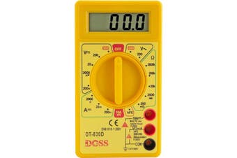 DT830D DOSS Basic Digital Multimeter (Dm150) Doss  General Purpose, Low Cost Dmm In Sturdy Safety Yellow Case, Complete With Shrouded Safety  70 x 126 x 24mm