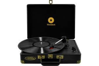 MBTR89BLK MBEAT Woodstock Retro Turntable Black / Speakers  3-Speed Play Audio and Support 33/45/78 Rpm  WOODSTOCK RETRO TURNTABLE