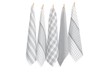 RANS Milan Stripy & Checked Tea towels - 5 Piece Set - Silver