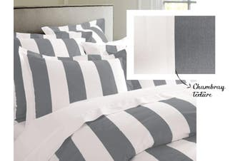 RANS Oxford Stripe Quilt Cover set - Single -Charcoal