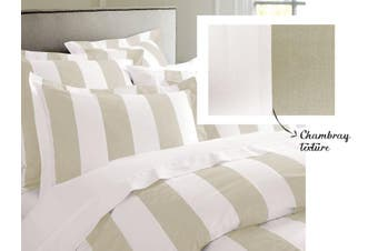 RANS Oxford Stripe Quilt Cover set - Single -Taupe