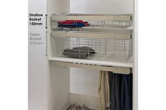 Pull Out Wardrobe Basket - Shallow