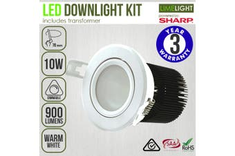 SHARP LED Downlight Kit and Driver - Warm White Dimmable COB 10W 70mm White Frame