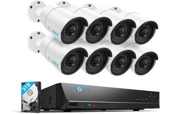 Reolink 8pcs 4MP Wired Outdoor 1440P PoE IP Cameras& 5MP 16-Channel NVR with 3TB HDD for Home and Business 24/7 Recording/RLK16-410B8