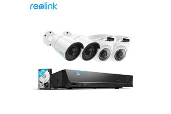 Reolink 4MP 8CH PoE Video Surveillance System 4pcs 4MP Wired Outdoor PoE IP Cameras &5MP/4MP Supported 8 Channel NVR Security System w/2TB HDD for 24/7 Recording/RLK8-410B2D2