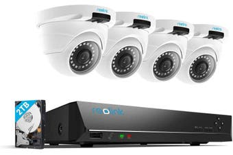 Reolink 4MP 8CH PoE Video Surveillance System 4pcs Wired Outdoor 1440P PoE IP Cameras, 8MP 5MP 4MP Supported 8 Channel NVR Security System w/2TB HDD/RLK8-420D4