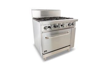 AG Six Burner Gas Cooktop Range with Oven - 914mm width - LPG  AG Equipment