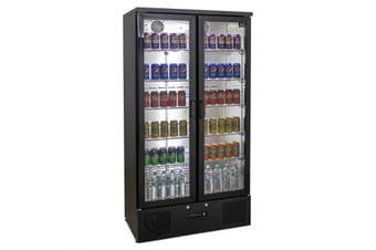 AG 500L Upright Double Glass Door Display / Backbar Fridge - Black  AG Equipment
