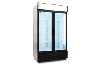 AG 1000L Double Door Upright Display Fridge - Glass Door  AG Equipment