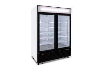 AG 1300 Litre Upright Double Glass Door Display Freezer  AG Equipment
