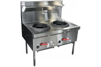 Complete Commercial Rear Gutter FIued Wok Table - 2 Burner with 2 Burner Broilers  Complete Commercial Equipment