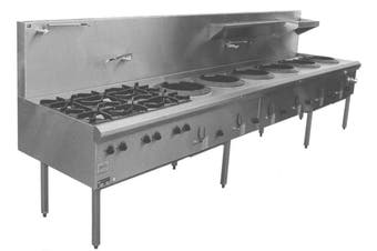 Complete Commercial Rear Gutter Non-FIued Wok Table - 6 Burner  Complete Commercial Equipment