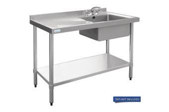 Vogue Single Bowl Sink L/H Drainer - 1200mm 90mm Drain