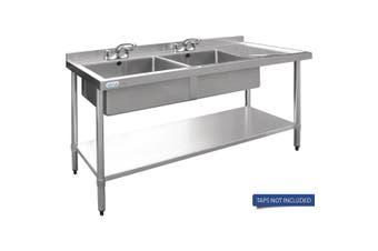 Vogue Double Bowl Sink R/H Drainer - 1500mm 90mm Drain