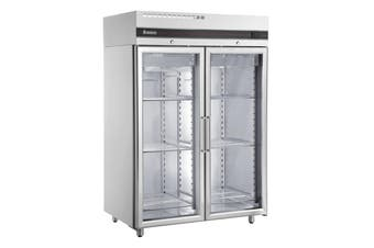 Inomak Double Door Upright Glass Fridge 1432Lt
