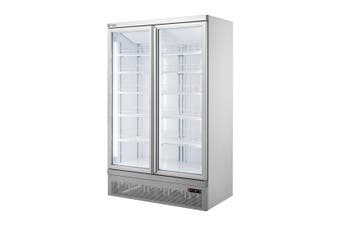 Double glass door colourbond upright drink fridge bottom mounted - LG-1000GBM  Thermaster
