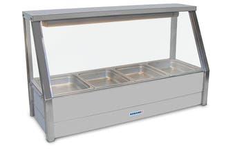 Roband Straight Glass Hot Food Display Bar, 4 pans single row
