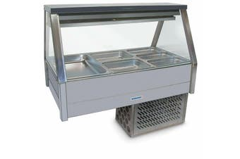 Roband Straight Glass Refrigerated Display Bar 6 pans - Piped and Foamed only (no motor)