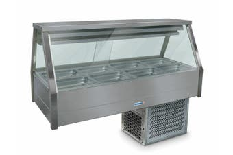 Roband Straight Glass Refrigerated Display Bar 8 pans - Piped and Foamed only (no motor)