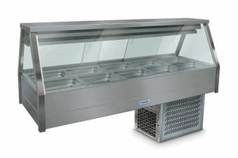 Roband Straight Glass Refrigerated Display Bar 10 pans - Piped and Foamed only (no motor)
