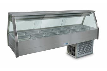 Roband Straight Glass Refrigerated Display Bar 12 pans - Piped and Foamed only (no motor)