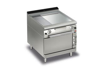 Baron 2 Burner Gas Fry Top With 2/3 Smooth 1/3 Ribbed Chrome Plate, Thermostat Control And Electric Oven - 700Mm Depth