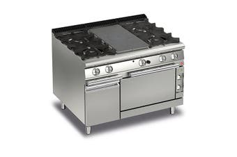 Baron Split Module Gas Target Top With 2 Gas Burners On The Left And Right And Electric Oven - 700Mm Depth