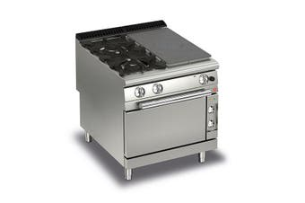 Baron Split Module Gas Target Top With 2 Gas Burners On The Left And Electric Oven - 900Mm Depth