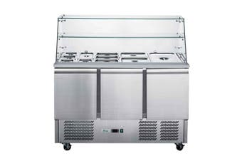 FED-X Three Door Salad Prep Fridge with Square Glass Top - XS903GC  Thermaster