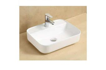 Camber rectangular above counter wash basin with taphole