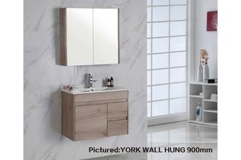 York wall hung vanity with ceramic top 350mm depth