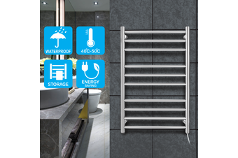 Round10 heat rods heated towel rail chrome