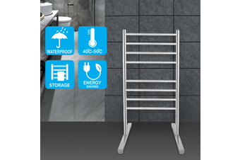 Round 8 heat rods free standing heated towel rail chrome