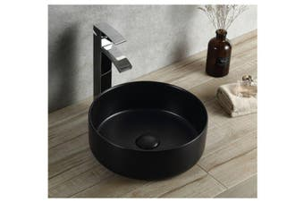 Flat round ceramic above counter basin Matt black